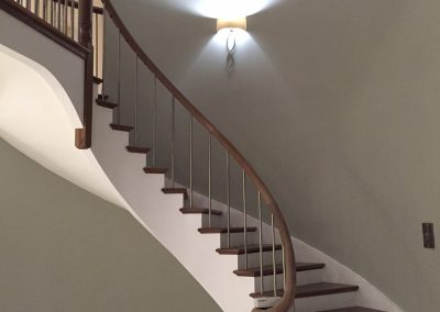 Custom made, walnut, curved staircase